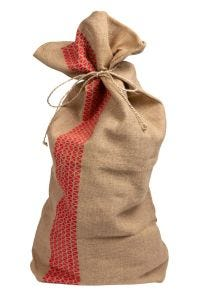 Red Striped Jute Gift Bag