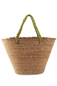 Recycled Sari & Grass Beach Bag