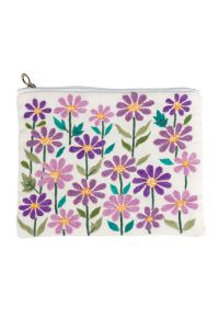 Embroidered Floral Pouch