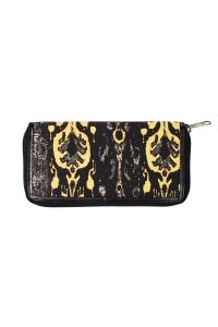Damask Canvas & Leather Wallet